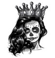 monochromatic skull girl with a crown vector image vector image