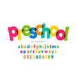 preschool kids style colorful font alphabet vector image vector image