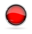 red button with chrome frame round glass shiny 3d vector image vector image