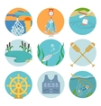 Set of fishing icons vector image vector image