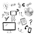 Set with business and web doodles vector image vector image