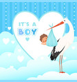 shower card with stork flying bird with newborn vector image