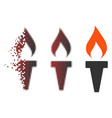 shredded pixel halftone fire torch icon vector image vector image
