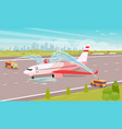 tidy up airplane at parking flat vector image vector image