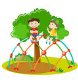 two boys climbing on climbing station vector image vector image