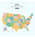 usa map full color high detail separated all state vector image vector image
