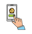 user smartphone with banking app vector image