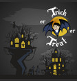 vampire bat flying on the full moon on cemetery vector image vector image