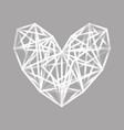 white polygonal heart vector image vector image