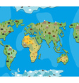 World map with animals and trees seamless pattern vector image