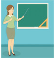 young woman teacher doing a presentation in class vector image vector image