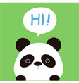 animal panda cartoon panda say hi background vector image