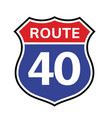 40 route sign icon road 40 highway vector image