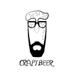 abstract hipster guy in form of beer glass vector image vector image
