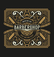 barber shop label western style vector image