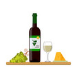 bottle of white wine wine glass grapes and vector image vector image