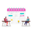 business people and big schedule office workers vector image