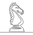 chess knight continuous line drawing vector image vector image