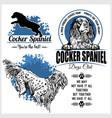 cocker spaniel dog - set for t-shirt logo vector image vector image