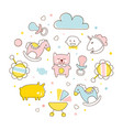 cute baby toys in pastel colors circular shape