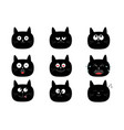 cute black cat set funny cartoon characters vector image vector image