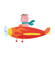 cute pig wearing aviator goggles flying an vector image vector image