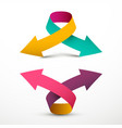 double arrow logo symbol up and down 3d arrows vector image vector image