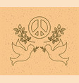 doves flying with world peace symbol vector image vector image