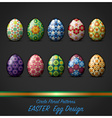 Easter Day Egg With Circle Floral Pattern Style vector image vector image