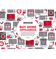 flat home appliance sale icon set vector image