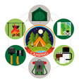 flat summer camping round concept vector image vector image