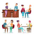 friends meeting happy group people relaxing vector image vector image