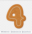 gingerbread number four symbol with drop shadow vector image vector image