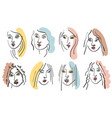 girl face brush line drawing sketch vector image