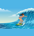 girl surfing on waves vector image vector image