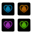 glowing neon eco friendly heart icon isolated on vector image vector image