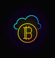 golden bitcoin with blue cloud line concept icon vector image vector image