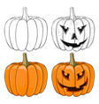 halloween pumpkin black and white and colored vector image vector image