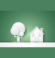 house with tree concept paper art style vector image