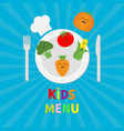 kids menu card fork plate knife and chefs hat vector image vector image