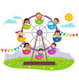 kids riding on wheel ferris vector image