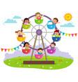 kids riding on wheel ferris vector image vector image