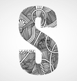 Letter S from doodle alphabet vector image vector image