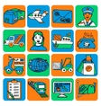 Logistic cartoon icons color vector image vector image