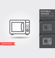 microwave oven line icon with editable stroke vector image vector image