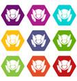 motorcycle helmet design icons set 9 vector image
