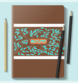 notebook mock up with autumn pattern on a blue vector image