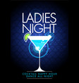 party ladys night flyer design with cocktail glass vector image vector image