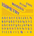 pixel isometric font 8-bit symbols 3d digital vector image