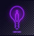 purple neon lightbulb logo vector image vector image